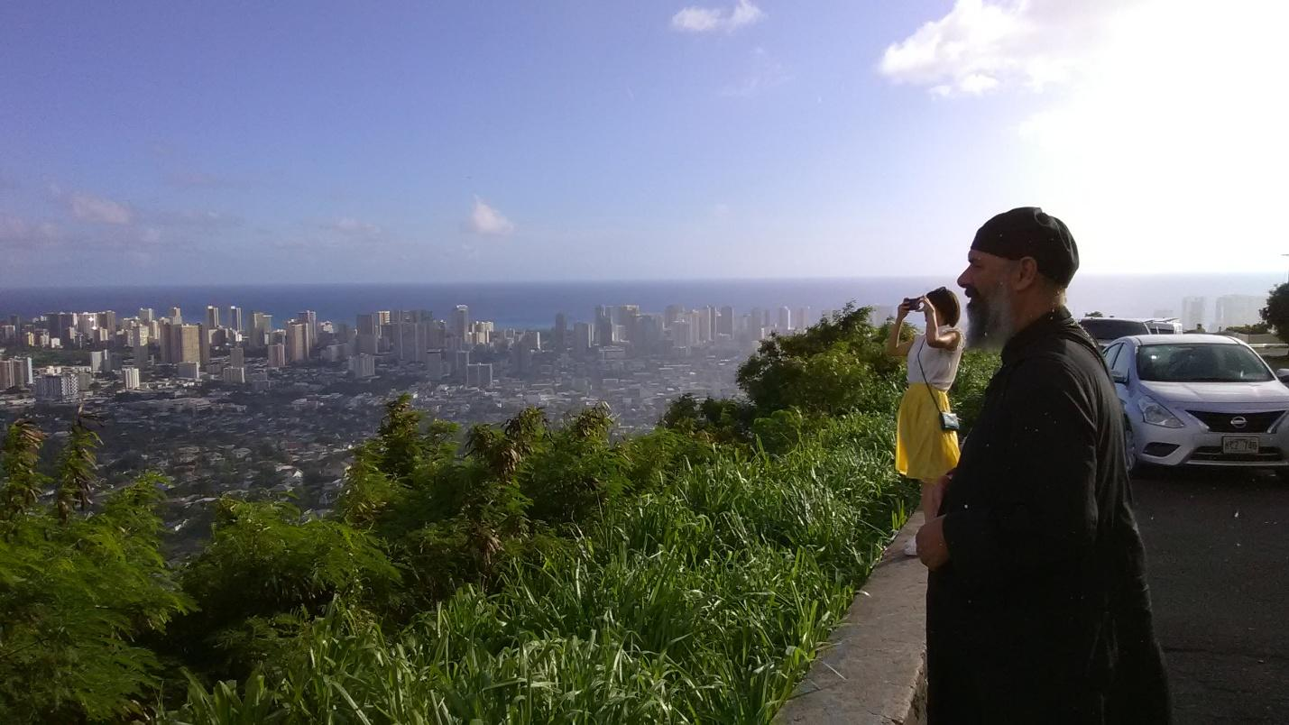 Fr. Athanasius overlooking Honolulu