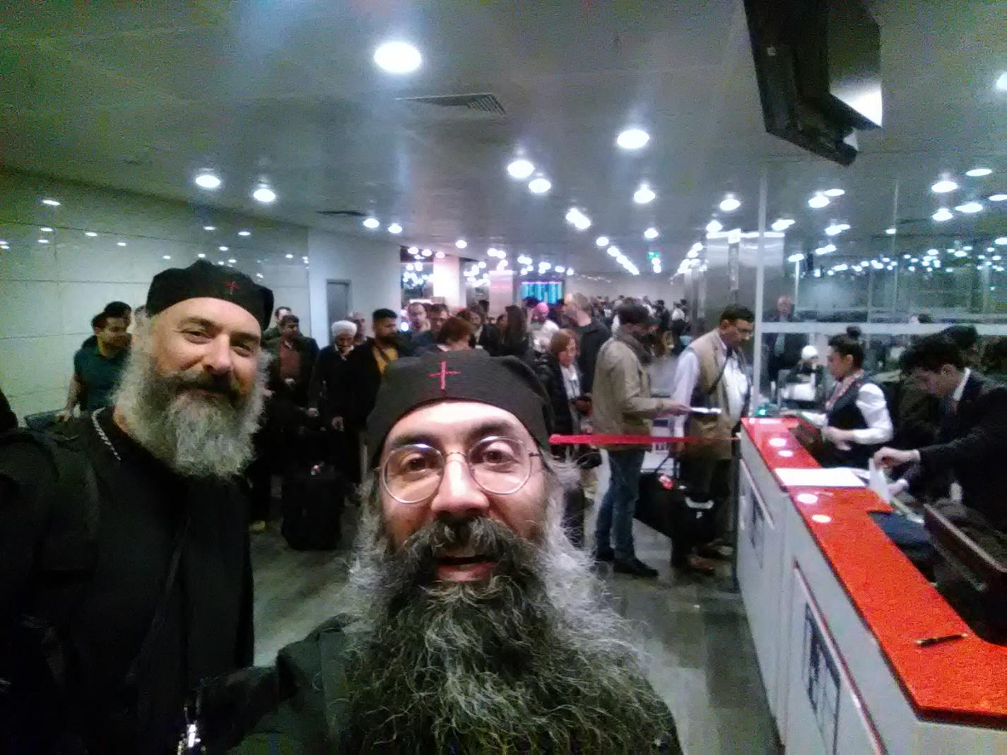 Fr. Athanasius and Papa Ephraim changing planes in Istanbul
